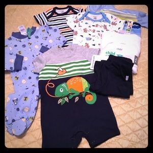 Bundle of brand new baby clothes